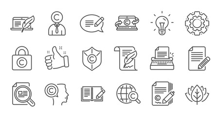 Copywriting line icons. Copyright, Typewriter and Feedback. Legal content linear icon set. Quality line set. Vector