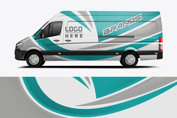 Fototapete - Van Wrap Livery design for company. Ready print wrap design for Van. - Vector