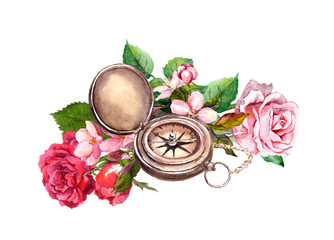 Vintage watercolor with compass, flowers. Travel concept