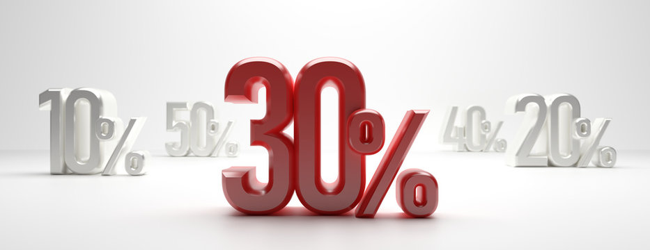 Sale 30%. 30 percent discount text on white background, banner. 3d illustration