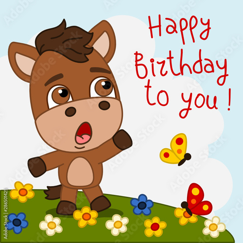 Funny horse singing song Happy birthday to you - greeting