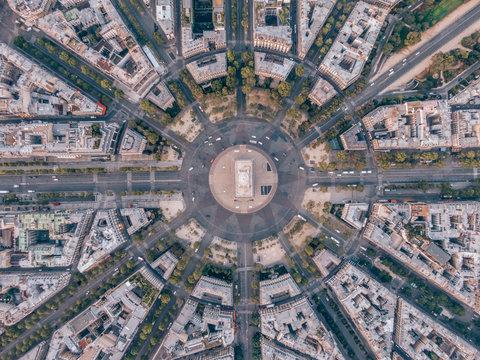 Aerial of the Arc de Triomphe in Paris, France