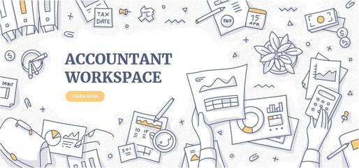 Accountant Workspace Doodle Concept