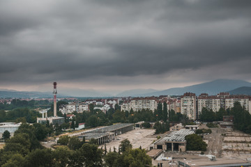 View on a city of Niš on a cloudy morning