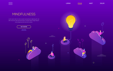 Mindfulness concept - modern isometric vector web banner