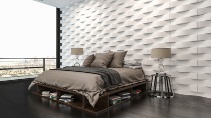 Elegant modern bedroom with feature textured wall Wall mural