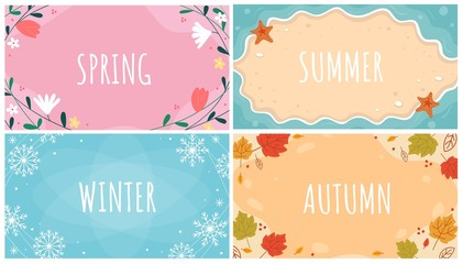 Beautiful natural seasonal backgrounds set vector illustration. Spring, summer, autumn, winter templates with inscriptions and orange, yellow leaves, blue snowflakes and flowers flat style design Wall mural
