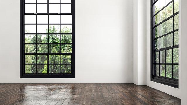 Empty room corner view with large windows