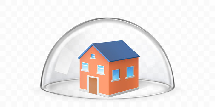Cottage house building covered with transparent glass dome isolated 3d realistic vector illustration. Insurance for real estate, private property protection, house safety and home secure concept