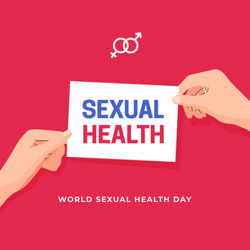 World Sexual Health Day poster concept design. Man woman couple hand holding sexual health campaign text on white paper vector illustration banner background template.