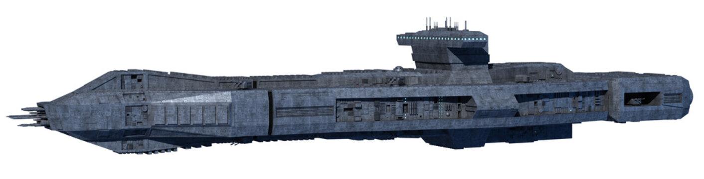 Space Opera: Space Battleship Isolated on White (3-d-Illustration)