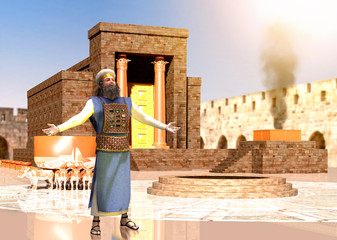 Biblical Jewish Priest Standing In Front Of King Solomon's Temple