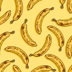 Vector Seamless Pattern of Cartoon Overriped Bananas