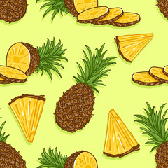 Vector Seamless Pattern of Cartoon Pineapples