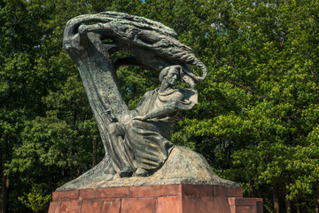 Frederic Chopin monument in Lazienki Park in Warsaw, Poland Fotomurales