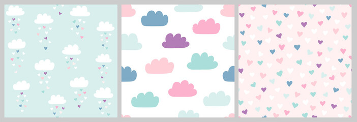 Cute scandinavian pattern set with clouds and hearts. Vector seamless background for Valentines day with clouds and heart rain. Illustration for babies, kids.