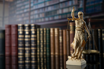 Judge, justice concept background.  Symbol of justice – Themis in the old university library. Fototapete