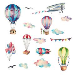 Big set of watercolor elemens: aeronautics, air balloons, birds, sky. Isolated on white background.
