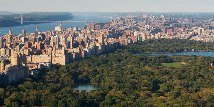 Aerial view of the Central Park and Manhattan, Upper West Side