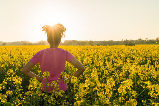 Mixed Race African American Girl Teenager Standing In Yellow Flowers