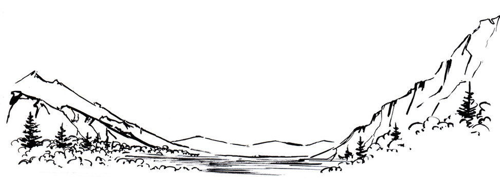 Sketch of lake surrounded by pine and deciduous forest against backdrop of mountain chain, isolated on white background. Black and white hand drawn landscape illustration on paper