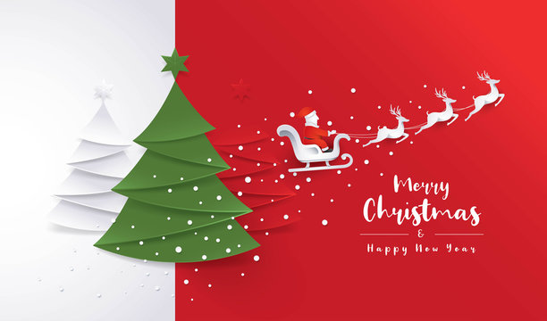 Merry Christmas Greeting card, Christmas Tree, Santa Claus sleigh and Reindeer with Snowflake on Red Background.