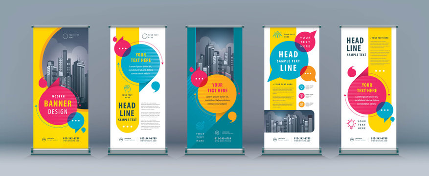 Business Roll Up Set. Standee Design. Banner Template