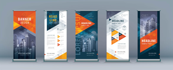 Business Roll Up Set. Standee Design. Banner Template, Abstract Geometric Triangle Background vector Wall mural