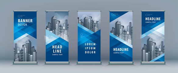 Business Roll Up Set. Standee Design. Banner Template, Abstract Geometric Triangle Background Wall mural
