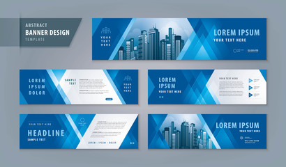 Abstract banner design web template Set, Horizontal header web banner