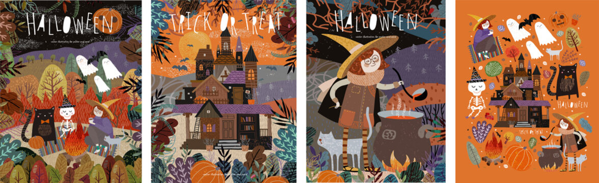 Happy Halloween! Vector illustrations of a picnic with characters: ghosts, a witch and a skeleton; castle in the forest; witch cooking potion and a set of objects. Cute pictures for poster