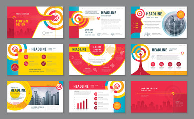 Abstract Presentation Templates Design Set, Colorful Abstract Arrow and Target Background vector