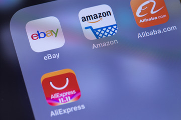 eBay, Amazon, AliExpress and Alibaba apps icon on the screen. Moscow, Russia - October 26, 2018