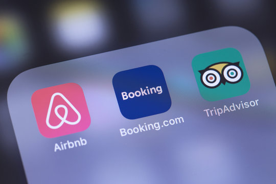 Airbnb, Booking and TripAdvisor apps icon. Services for booking rooms. Tripadvisor is a travel site for customer reviews and rating. Moscow, Russia - October 26, 2018
