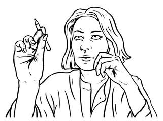Geschäftsfrau mit Stift bei Entwurf oder Prüfung