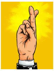 Hand von Geschäftsmann mit gekreuzten Fingern