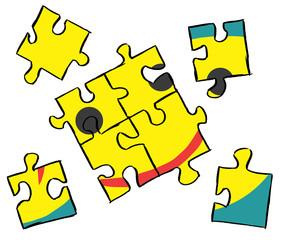 Unfertiges Puzzle eines lächelnden Gesichts