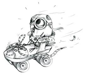 Ausmalbild Wellensittich als Stuntpilot in Rollschuh
