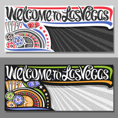 Vector vouchers for Las Vegas with copy space, decorative sign board with illustration of four kind aces and roulette wheel, creative script for words welcome to las vegas on rays of light background.