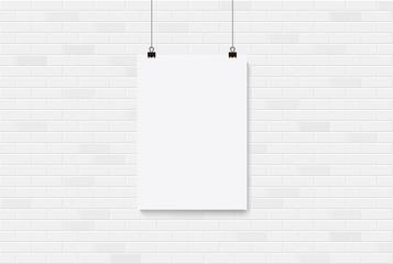 Wall Mural - Mockup blank poster on the seamless brick wall.