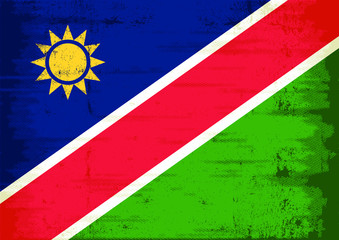 Grunge flag of the Republic of Namibia with a texture