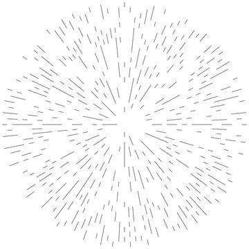 Radial ray, beam lines. Circular radiation stripes pattern. Gleam, sparkle effect. Glaze, flare, aurora design. Sunburst, starburst concentric lines as twinkle, radiance, glitter illustration.