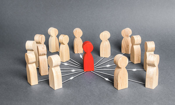 The red person is connected with employees by wide network of lines. At the center of a complex large system. Communication social. Cooperation, collaboration. Project leadership personnel management