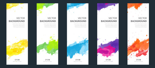 Fotobehang -  Flyer template layout cover design bundle set with watercolor background.
