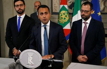 5-Star Movement leader Luigi di Maio speaks to the media after consultations with Italian President Sergio Mattarella in Rome
