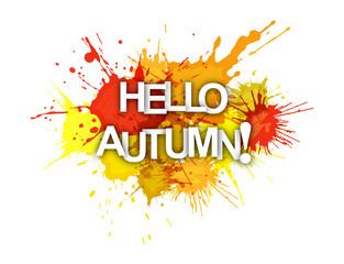 HELLO AUTUMN! The phrase on the colored spray paint.