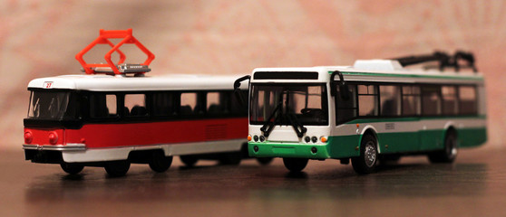 Tram and trolley bus toy