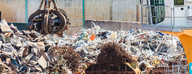 Heap of old metal and equipment for recycling
