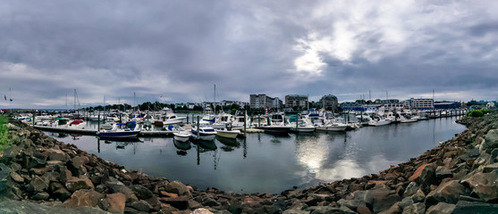 Calm before the storm - Panorama view of Harbor View, Stamford City, Connecticut