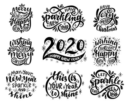 Lettering set. 2020. Merry christmas & happy new year.